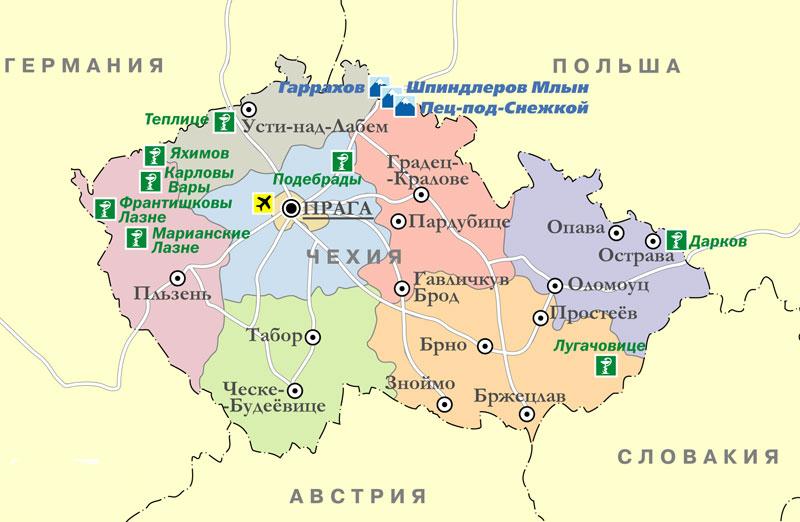 18. туристическая карта Чехии