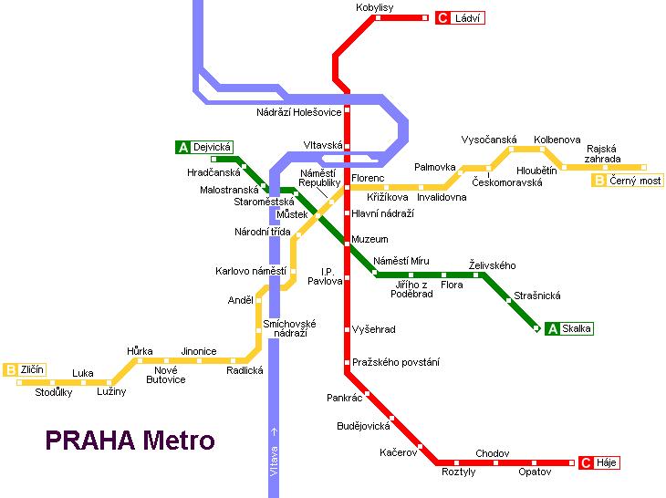 Карта метро в Праге
